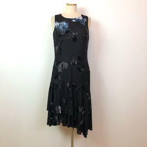 DKNY 12 Black Velvet Burnout Sleeveless Dress B8-7
